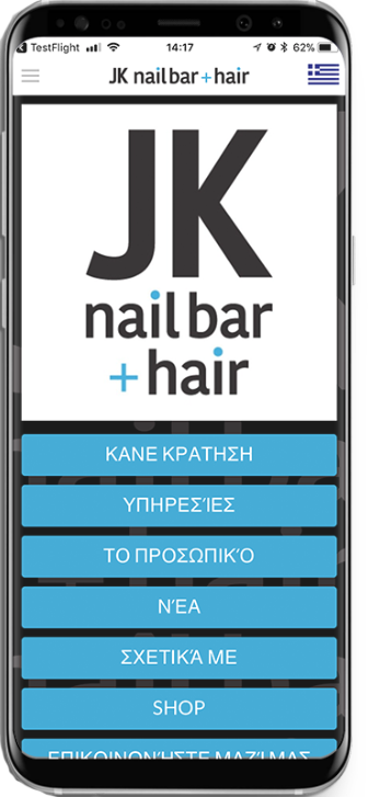 Book your appointment at any time at JK.. Download our app and make an appointment just at the touch of a button!  ● Create an account  ● Choose a day and time  ● Choose the person you want to take  ● Enable alerts on your mobile so you do not miss your a